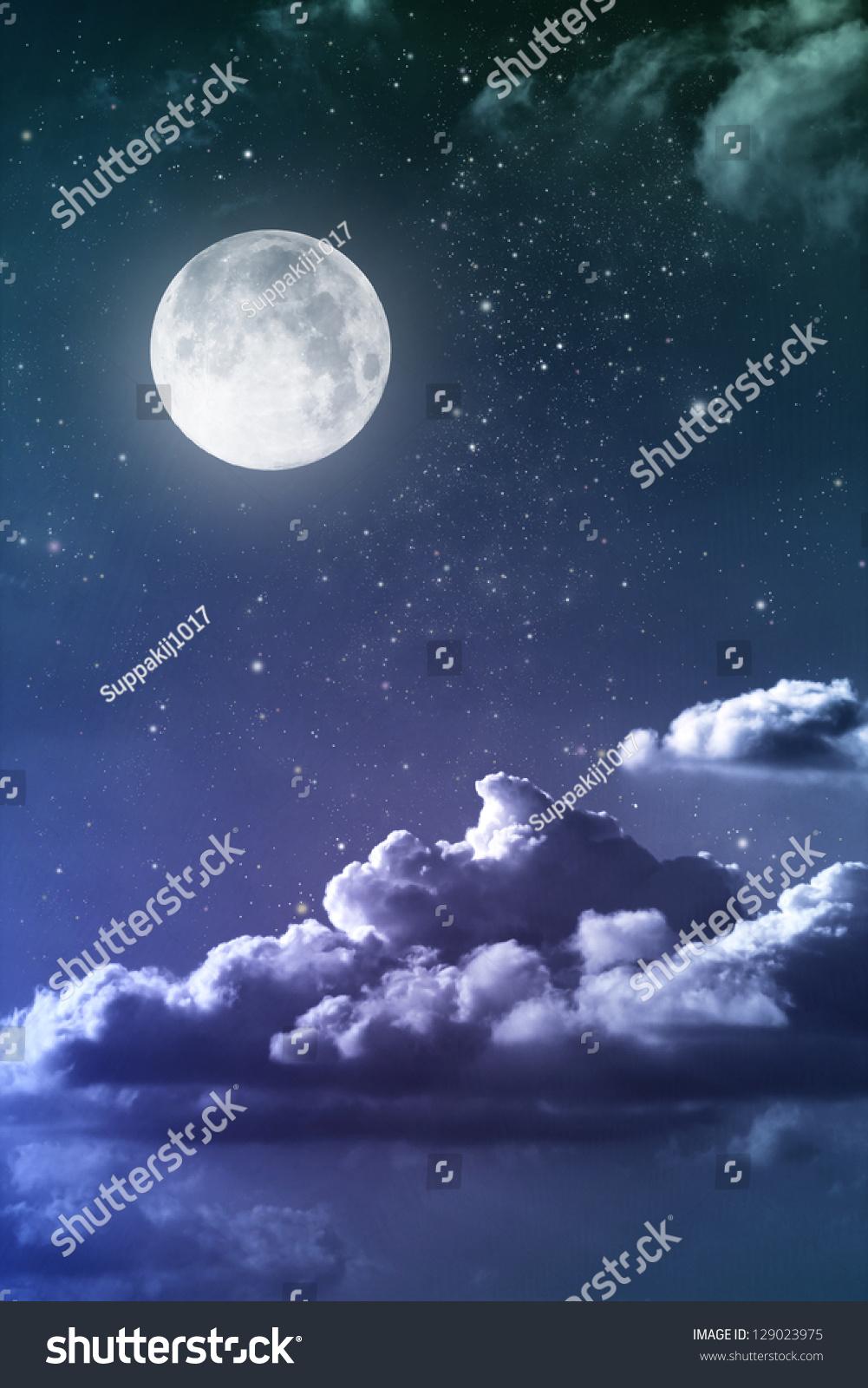 Cloudy Night Sky Stars Cloudy Night Sky Moon ...