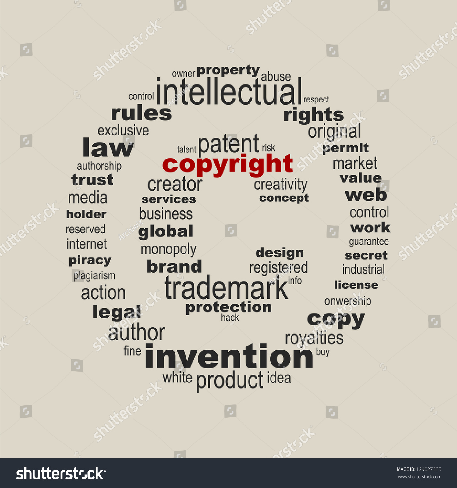 Copyright Symbol Concept Stock Vector Royalty Free 129027335