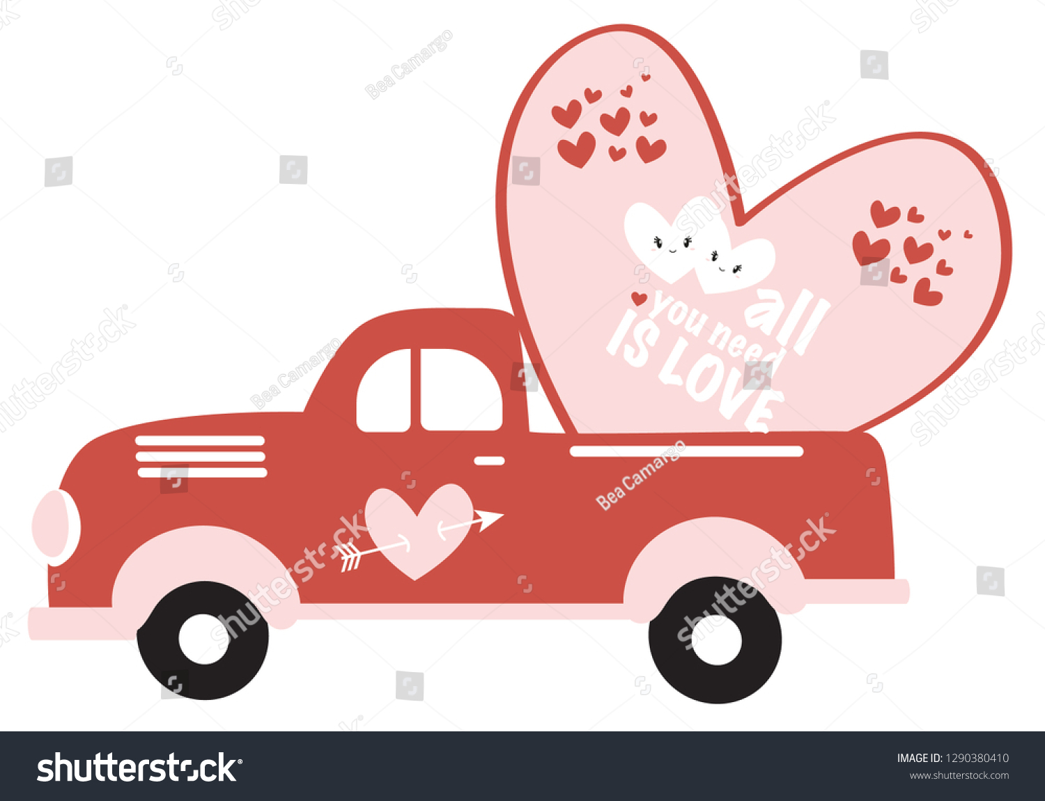 Valentines Vintage Red Truck Valentines Day Stock Vector Royalty Free 1290380410
