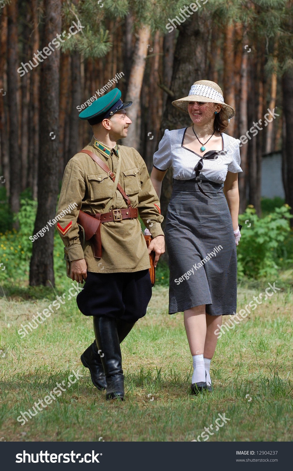 Red Army Officer Girl Ww2 Reenacting Stock Photo (Edit Now