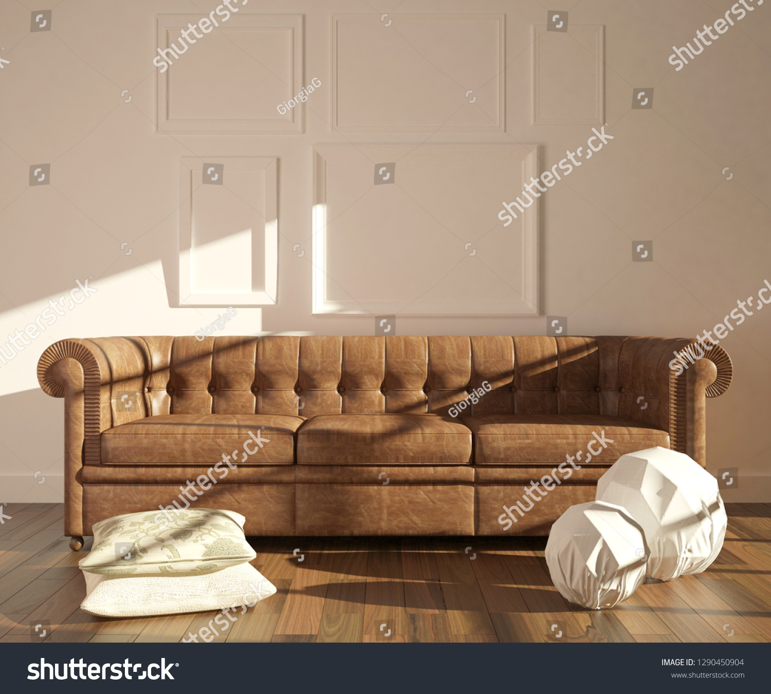 Modern interior with chesterfield sofa pillows and lamps on the parquet floor empty frames