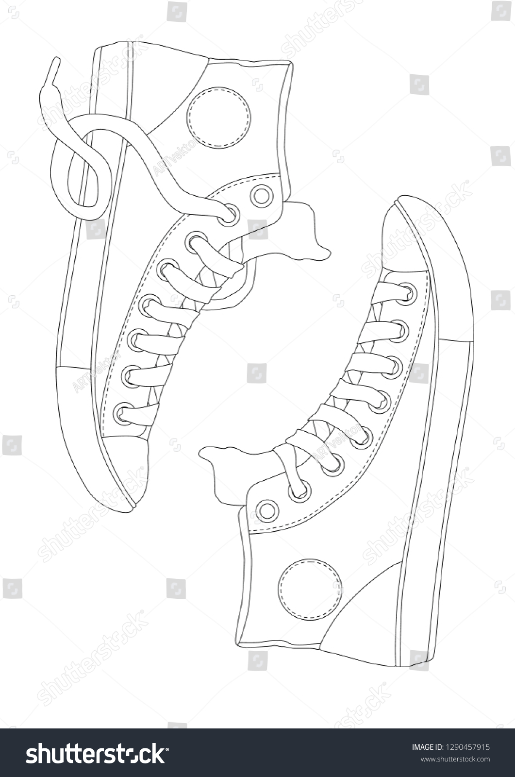 Hand Drawn Pair Sneakers Coloring Page Stock Vector Royalty Free