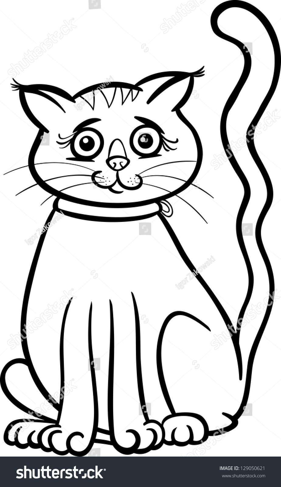 Black And White Cartoon Vector Illustration Of Cute Female Cat Or Kitten For Coloring Book