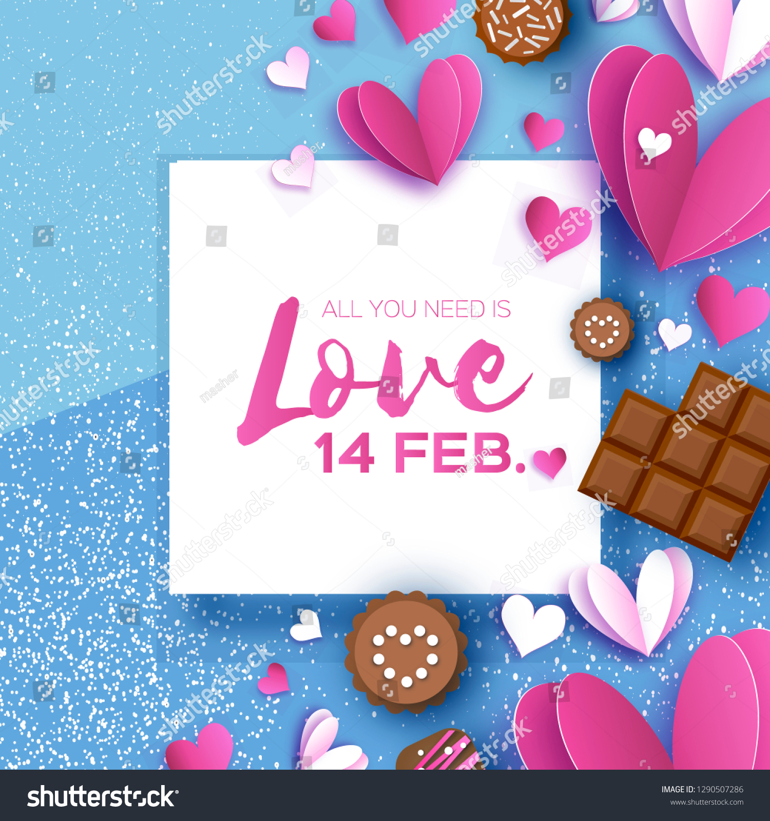Love Chocolate Valentines Day Greeting Card Stock Vector Royalty Free 1290507286