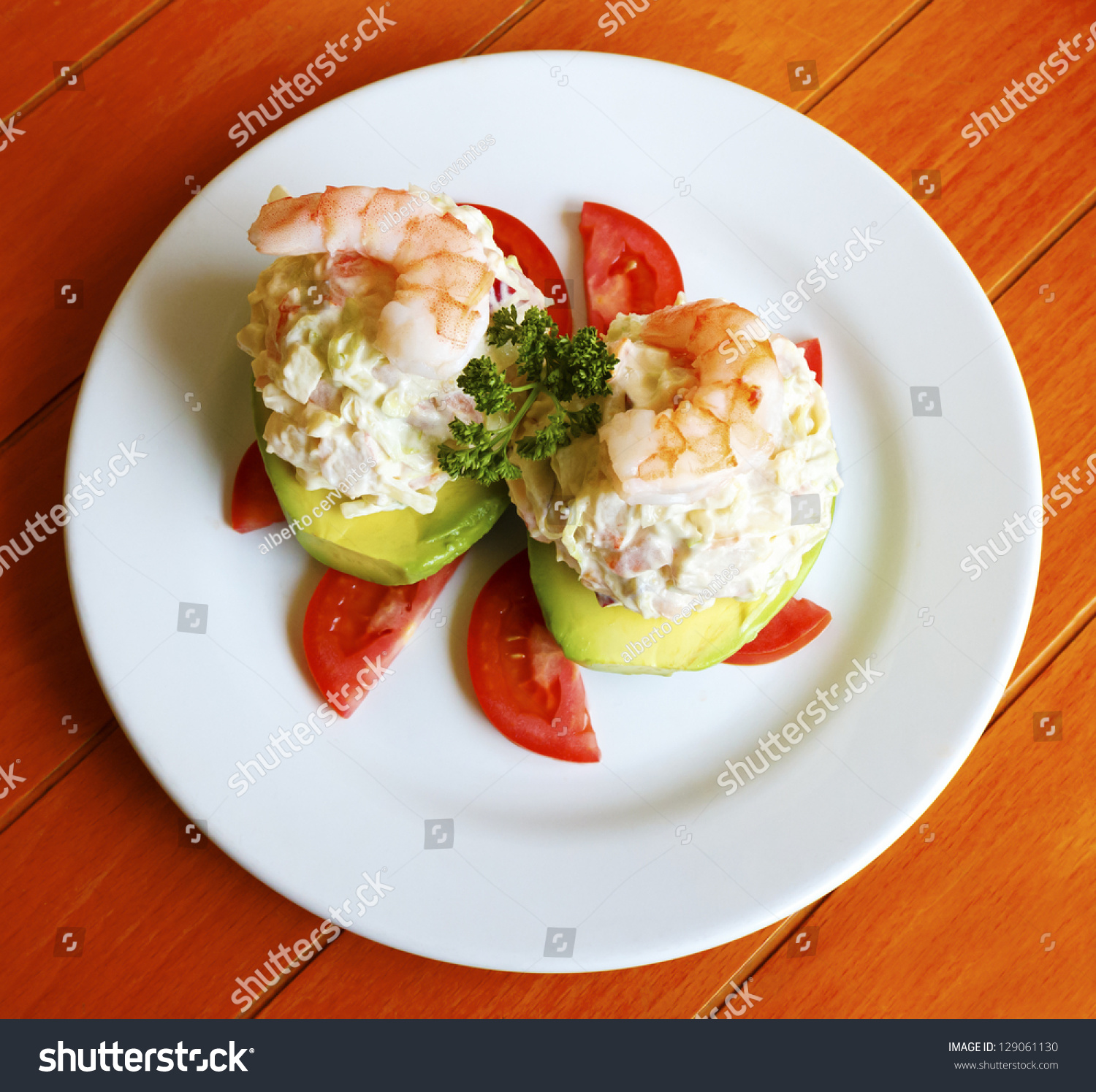 Exquisite Seafood Stuffed Avocado With Shrimp Stock Photo 129061130 ...