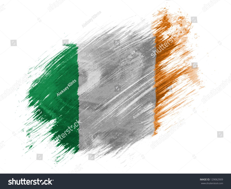 Ireland Irish Flag Painted With Brush On White Background Stock Photo