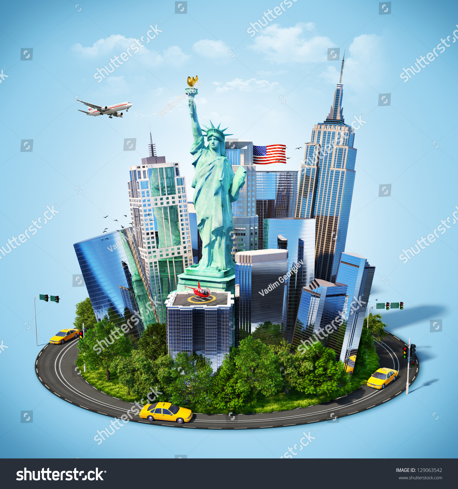 Famous Symbols Of New York City. Traveling To America
