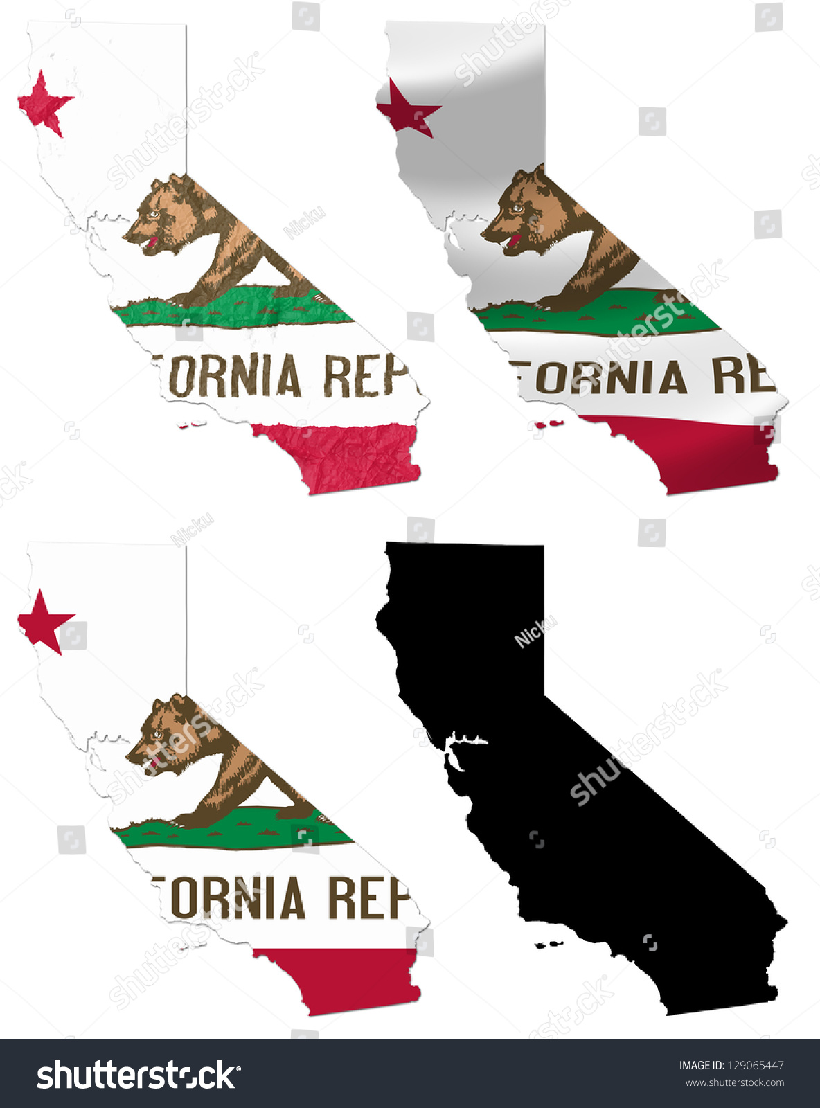 Us Map Photo Collage.Us California State Flag Over Map Stock Illustration 129065447