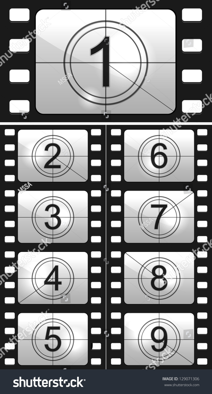 Film Countdown: Film Countdown Numbers. Vector Illustration