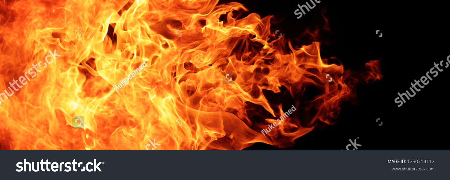 abstract blaze fire flame texture for banner background, 3 x 1 ratio #1290714112