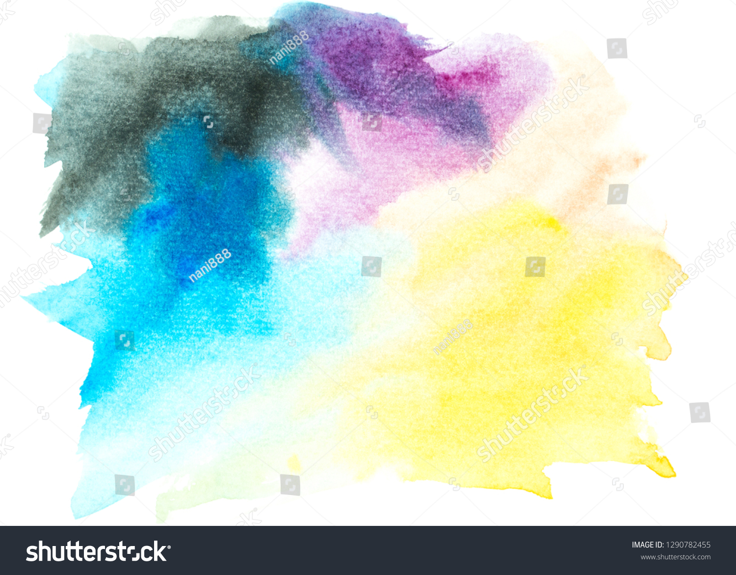 Watercolor Painting Ideas Colorful Shades Background Stock Illustration 1290782455