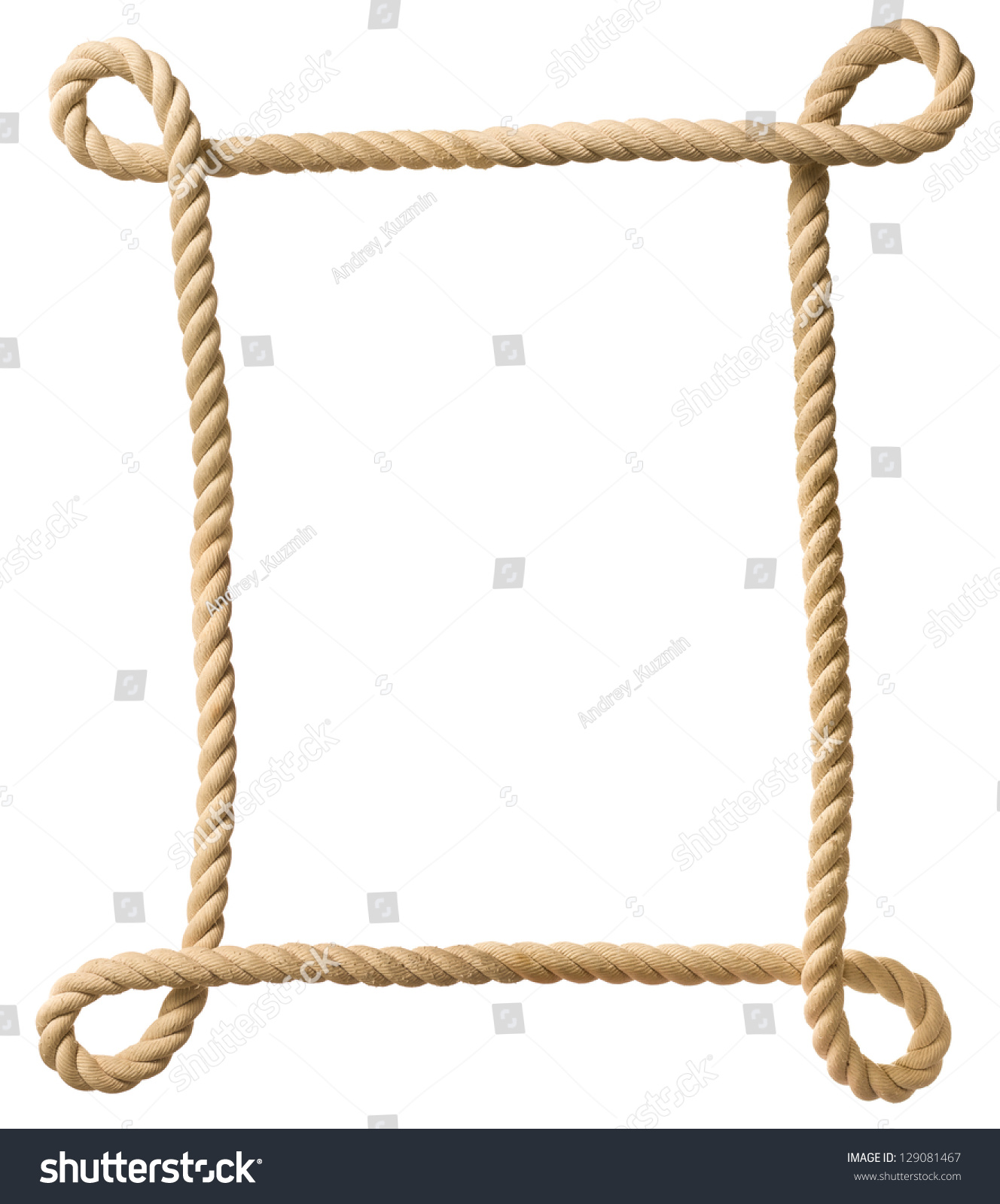 Rope Frame Isolated On White Stock Photo 129081467: rope photo frame