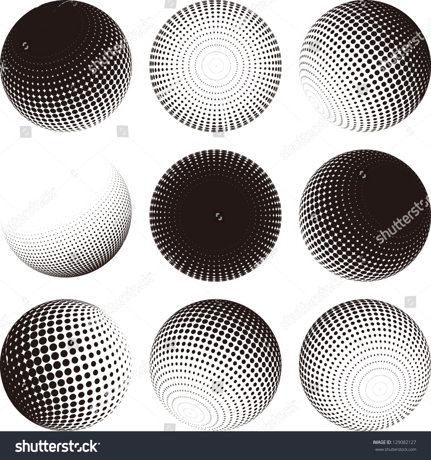Collection halftone sphere vector logo template stock for Sphere net template