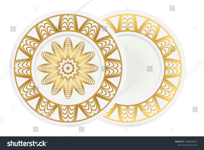 Matching Decorative Plates Decorative Mandala Ornament Royalty Free Stock Image