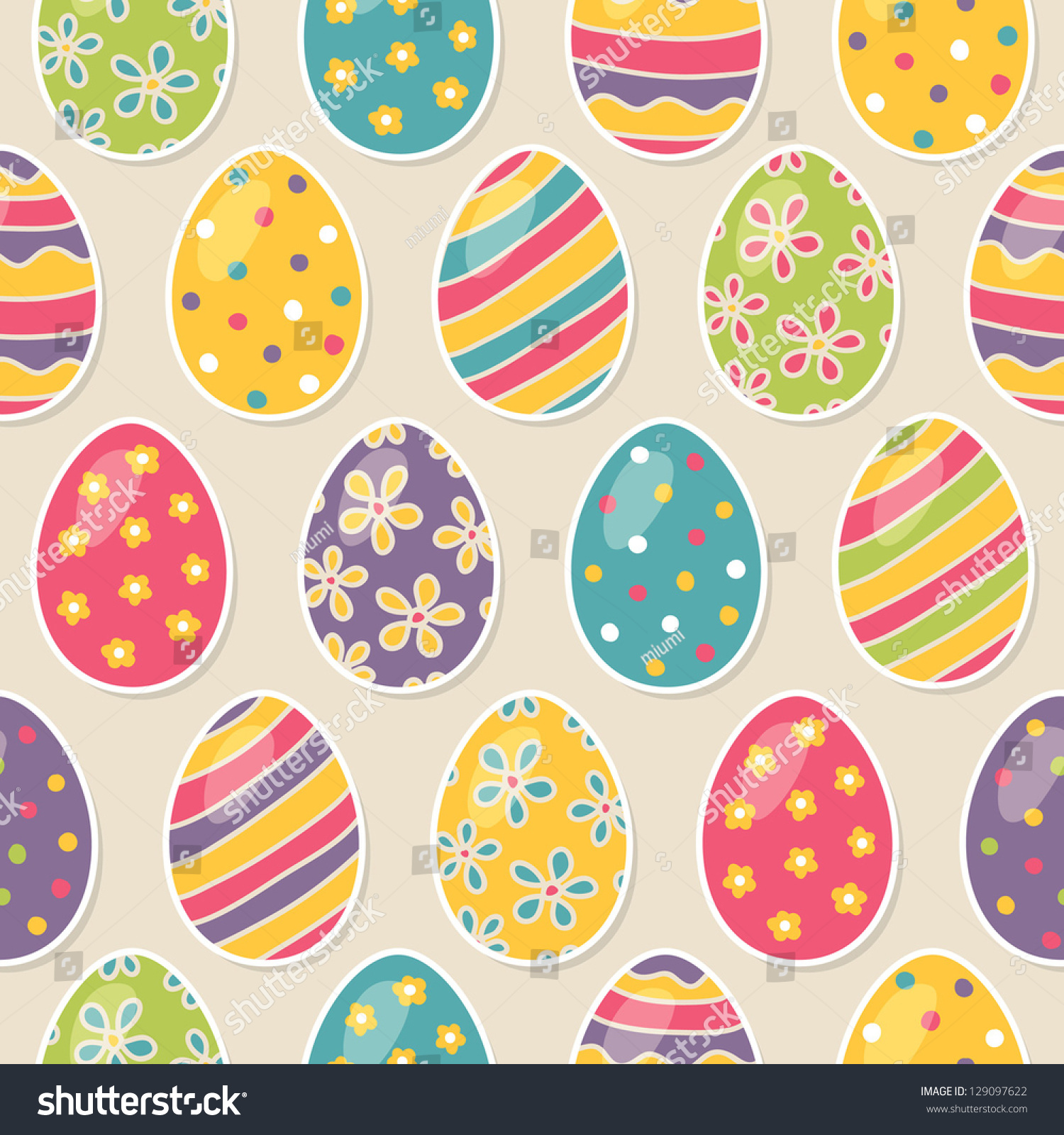 seamless pattern easter eggs stock vector 129097622 shutterstock