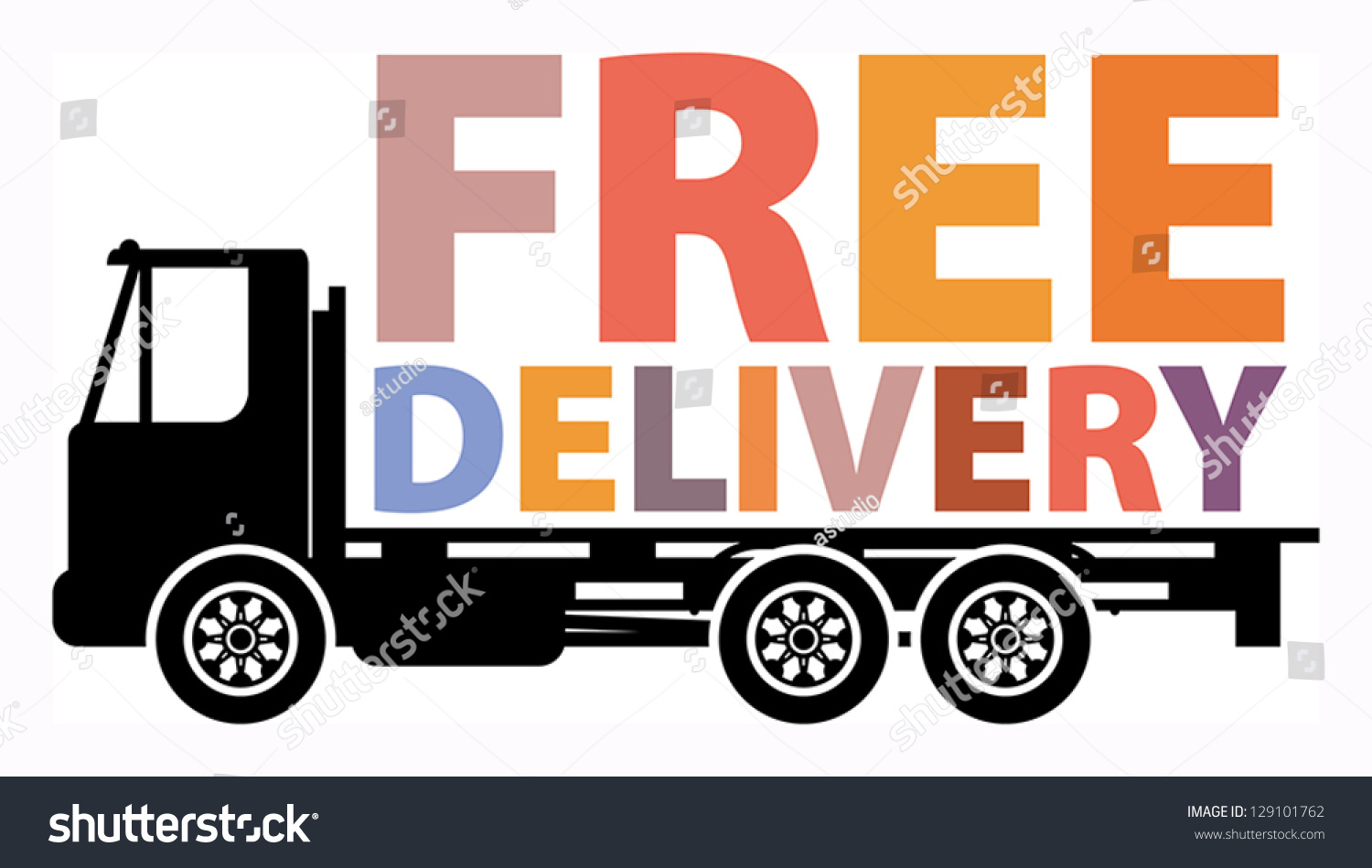 delivery truck text free delivery vector stock vector 129101762