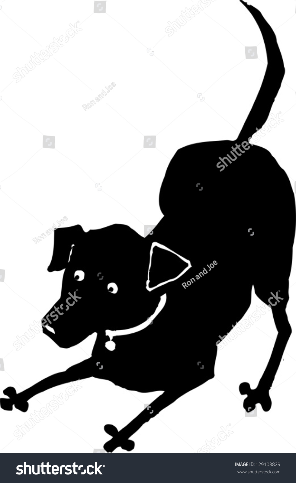 Black White Vector Illustration Dog Playing Stock Vector ...