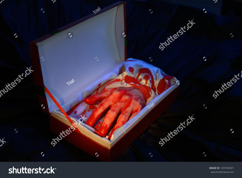 Cut Bloody Hand Open Gift Box Stock Photo 129104927 - Shutterstock