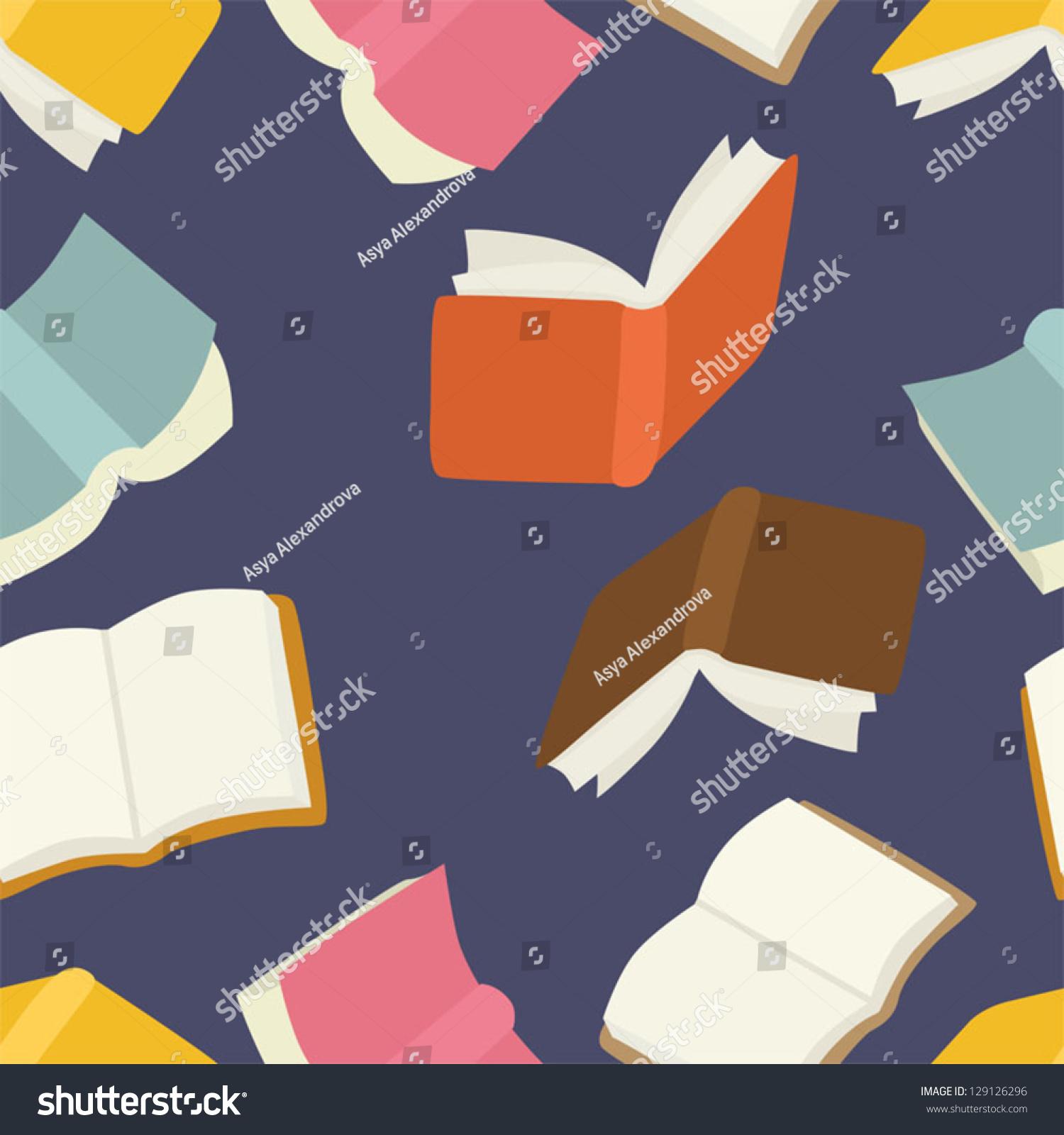 Seamless Flying Books Pattern Stock Vector 129126296 - Shutterstock