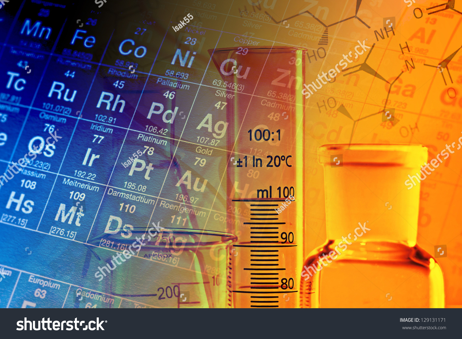 Laboratory glassware periodic table elements science stock photo laboratory glassware and periodic table of elements science concept gamestrikefo Images