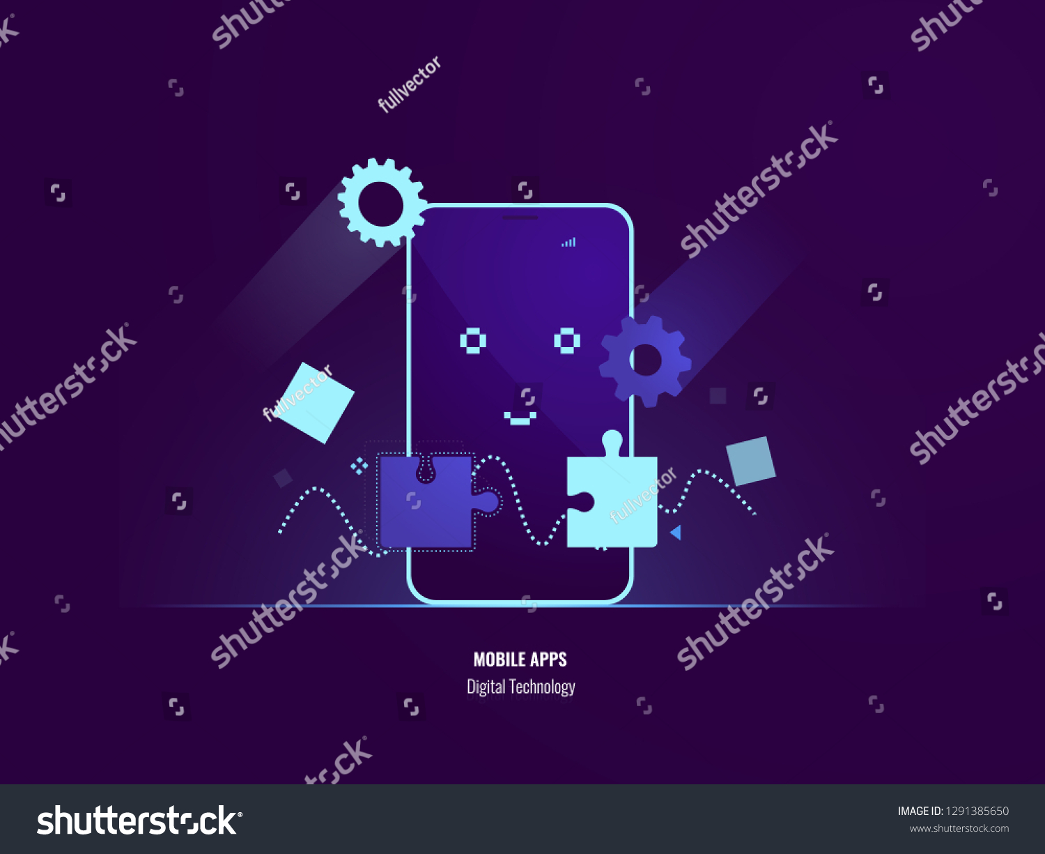 Mobile Apps Concept Connection Puzzle Uploading Stock Vector Royalty Free 1291385650