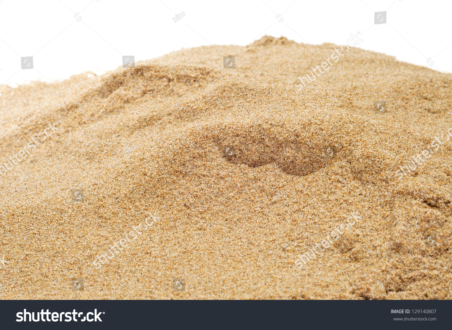 Closeup Of A Pile Of Sand On A White Background Stock ...