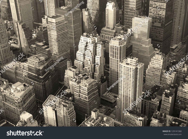 New York City Manhattan Skyline Aerial Stock Photo ...