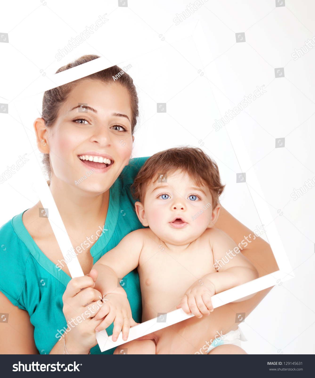 Photo Beautiful Young Mother Cute Baby Stock Photo 129145631 ...