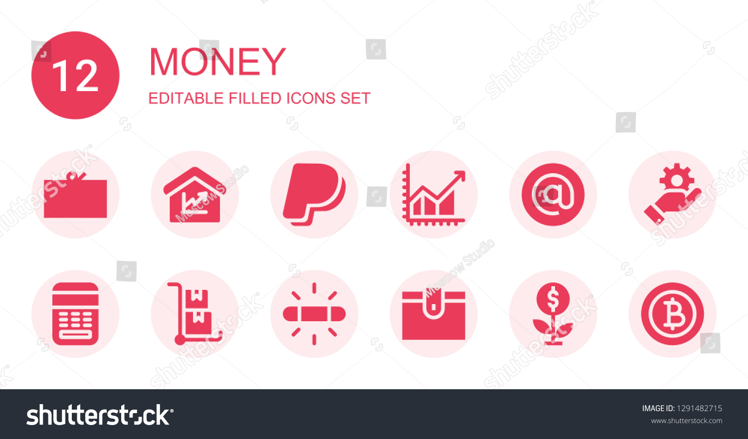 Money Icon Set Collection 12 Filled Stock Vector (Royalty