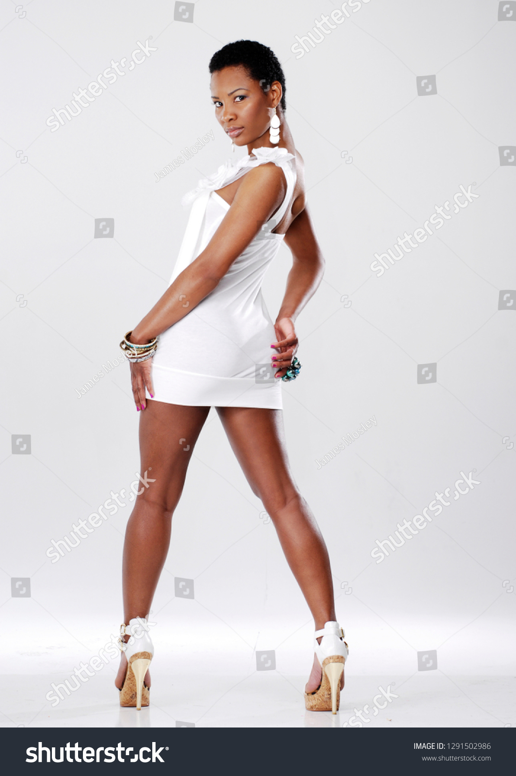 Sexy Woman Posing Wide Standing Stance Stock Photo Edit Now 1291502986