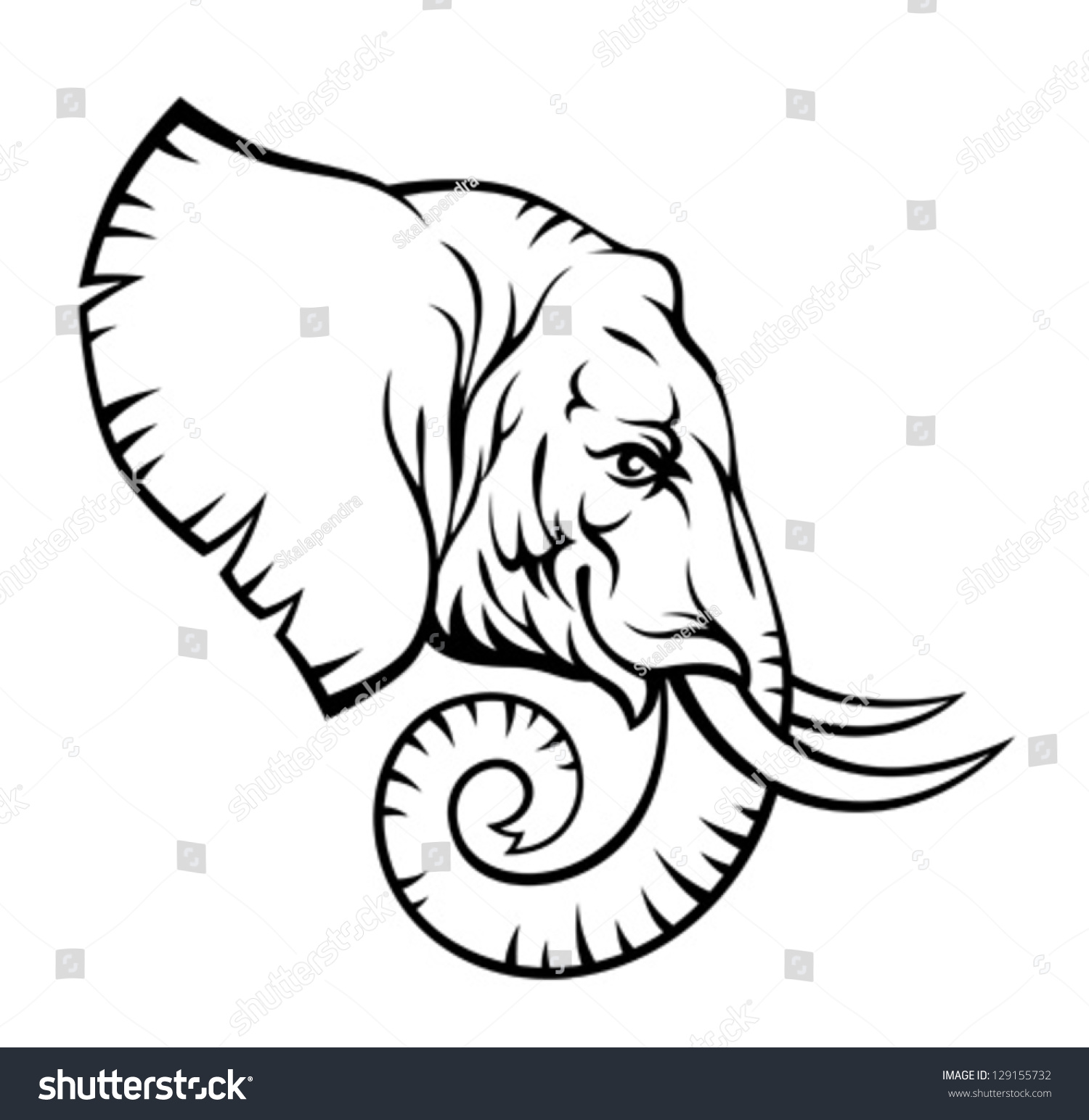 Contour Line Drawing Elephant : Elephant head stock vector shutterstock