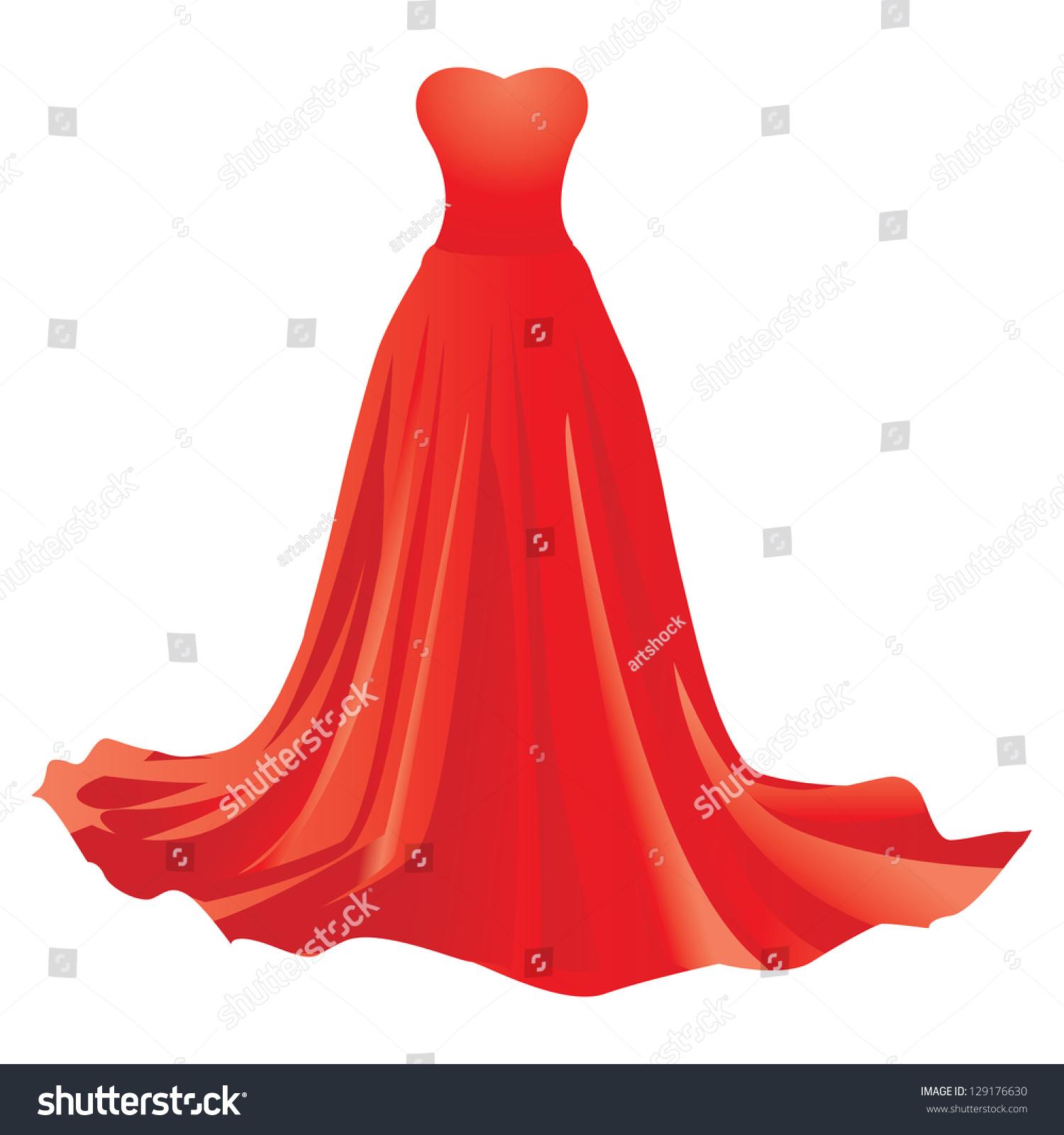 Cinderella Dresses Stock Vector Illustration Of Isolated: Illustration Red Dress Isolated On White Stock Vector
