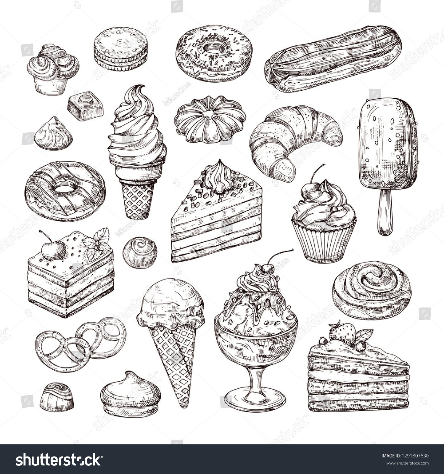 Sketch dessert. Cake, pastry and ice cream, apple strudel and muffin in vintage engraving style. Hand drawn fruit desserts vector set. Illustration of cake with cream, dessert sketch, pastry sweet