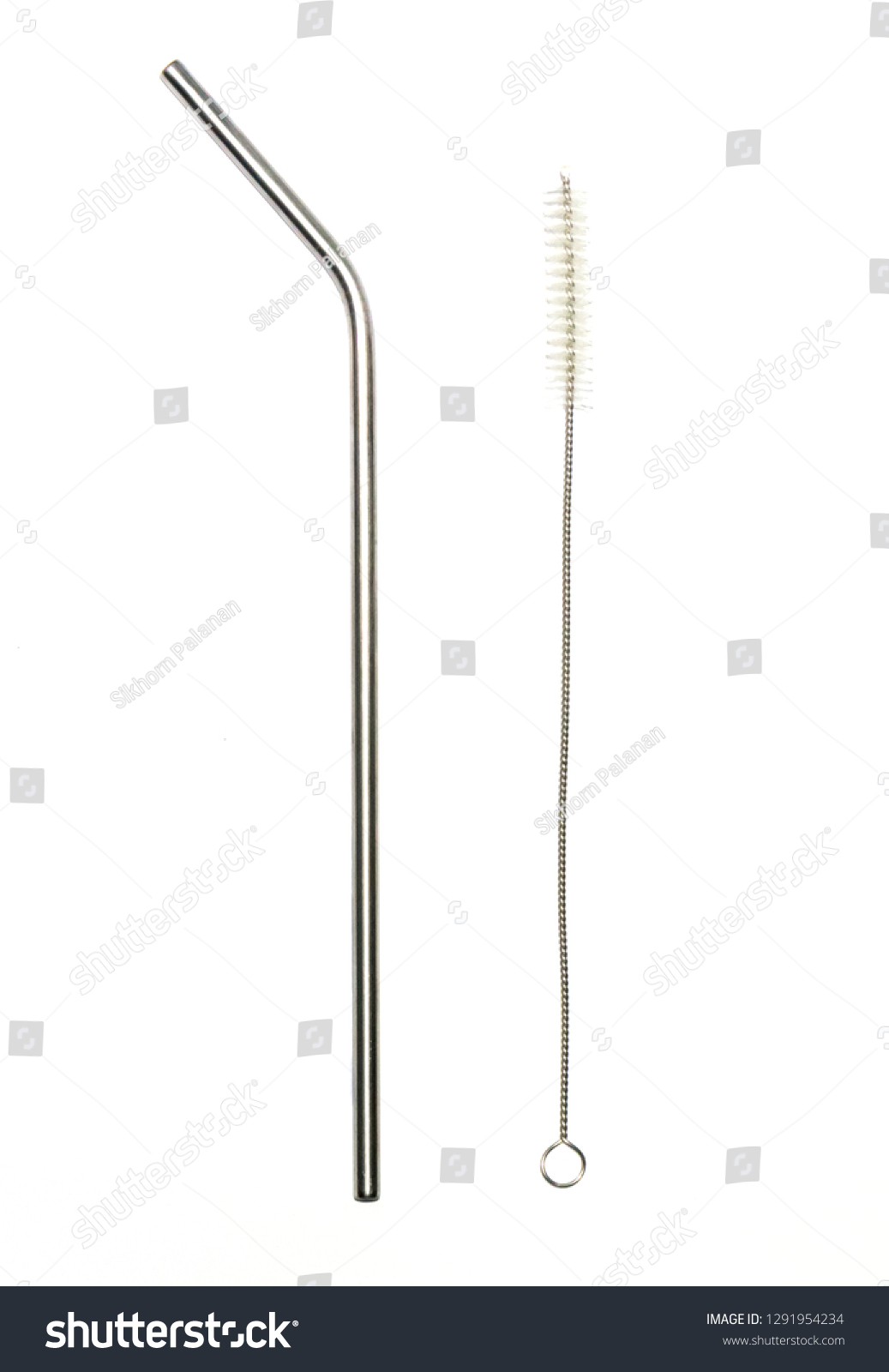 Stainless Steel Straw on white background metal drinking straw and Suction brush #1291954234
