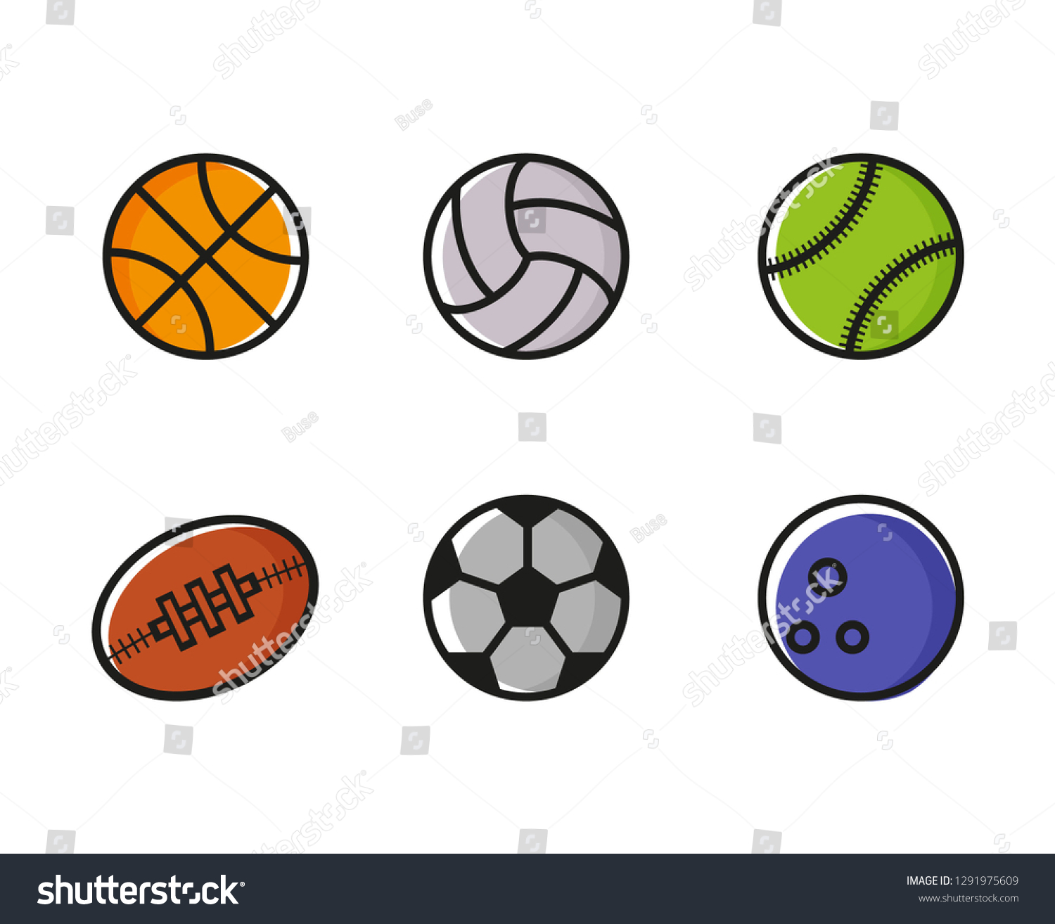 Sports Balls Vector Set Cartoon Ball Stock Vector Royalty Free 1291975609