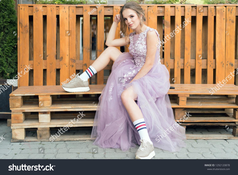 Cute Teen Girl Wearing Ball Gown Stock