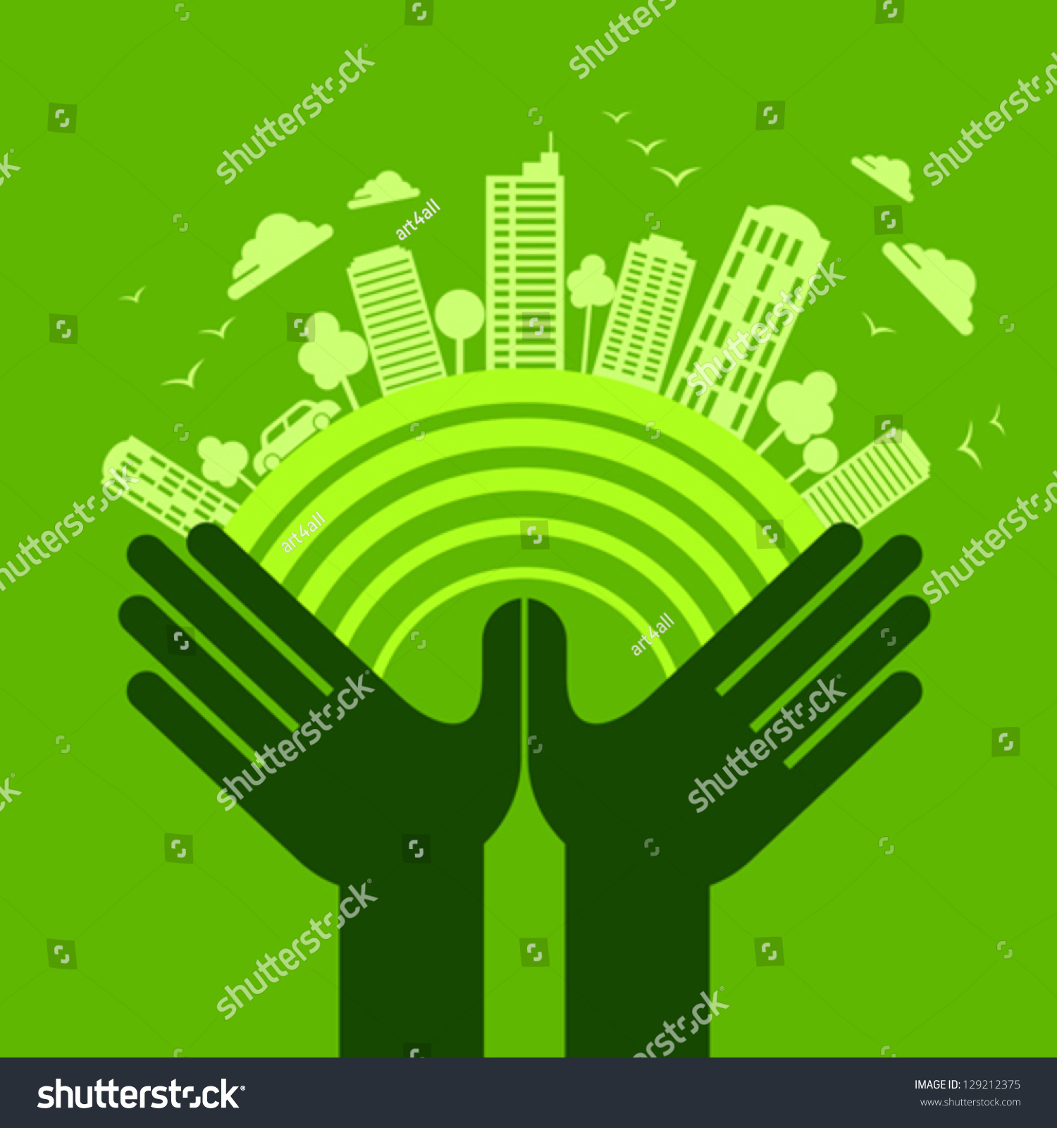 eco friendly hand concept stock vector 129212375 shutterstock. Black Bedroom Furniture Sets. Home Design Ideas