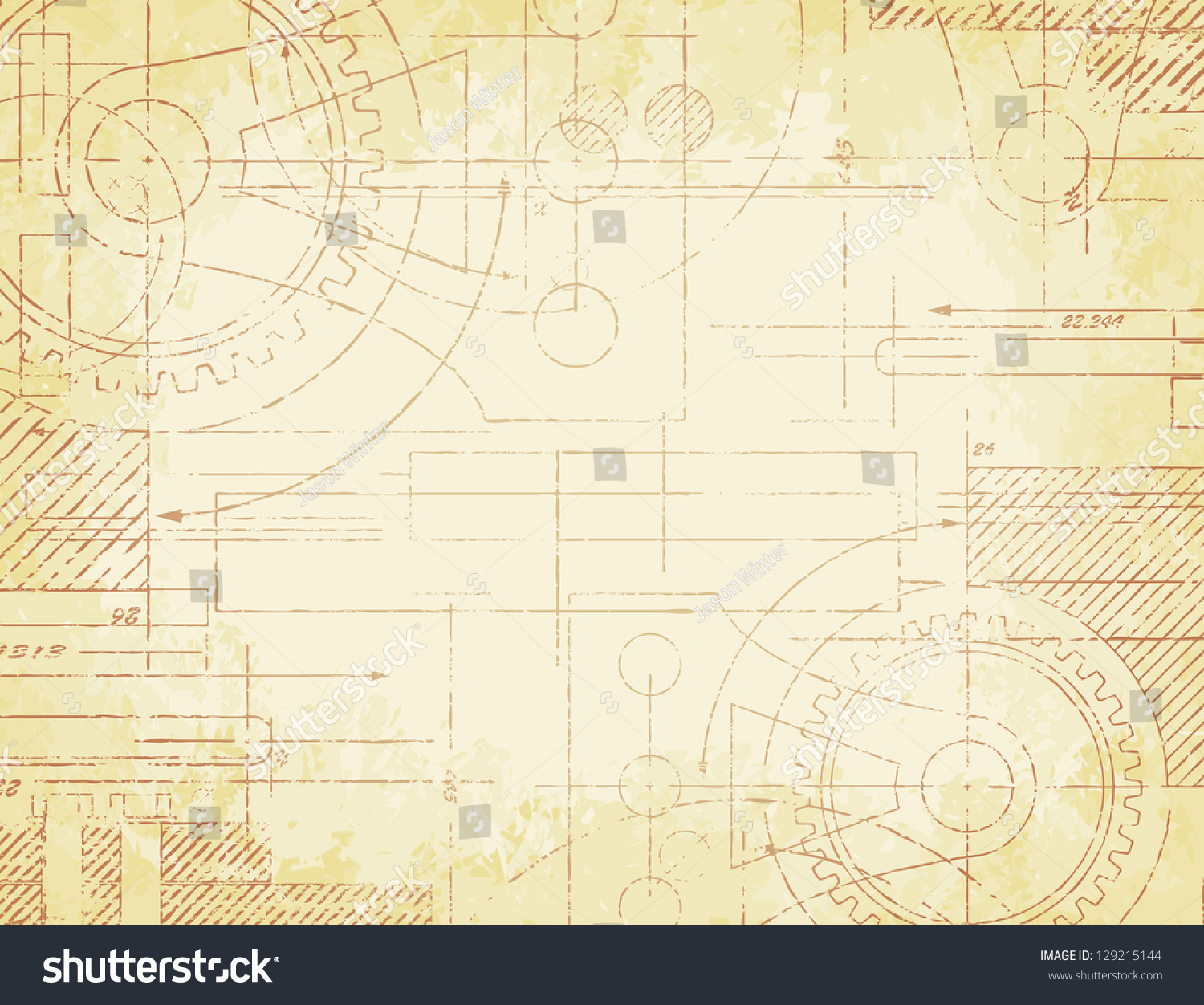 Royalty free grungy old technical blueprint 129215144 stock photo grungy old technical blueprint illustration on faded paper background 129215144 malvernweather Gallery