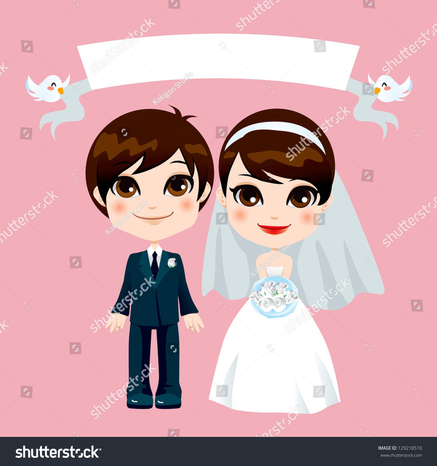 Illustration Lovely Sweet Couple Wedding Empty Stock Vector ...