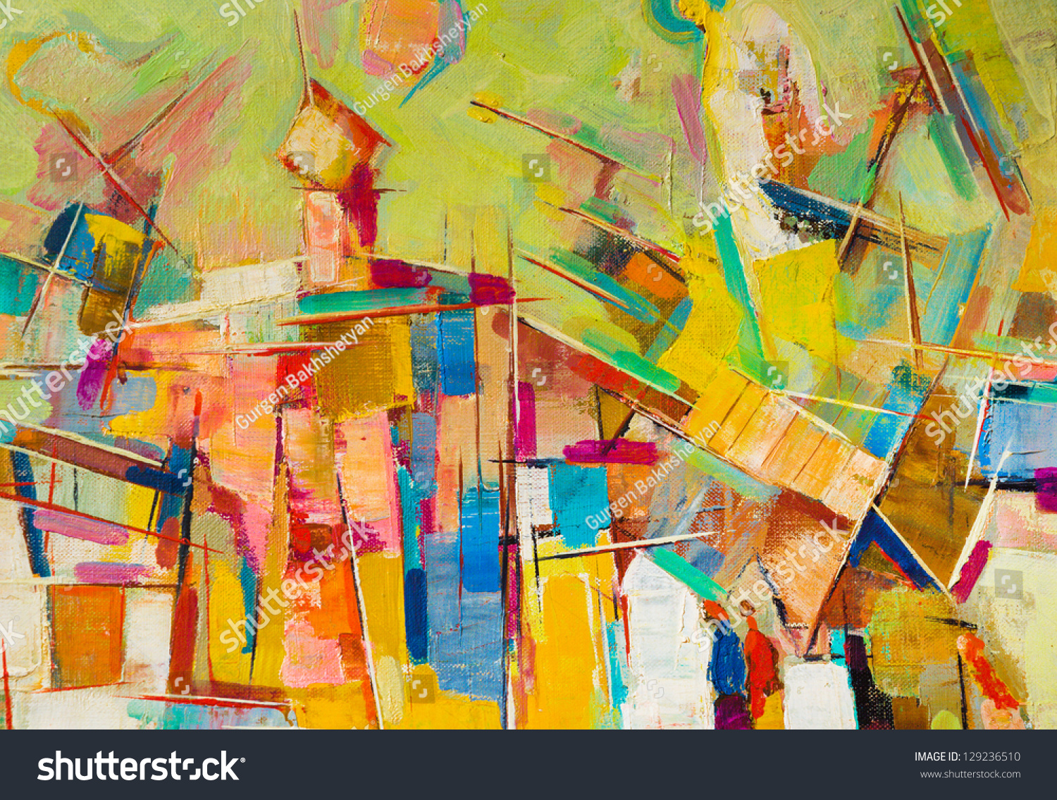 Abstract colorful oil painting on canvas #129236510