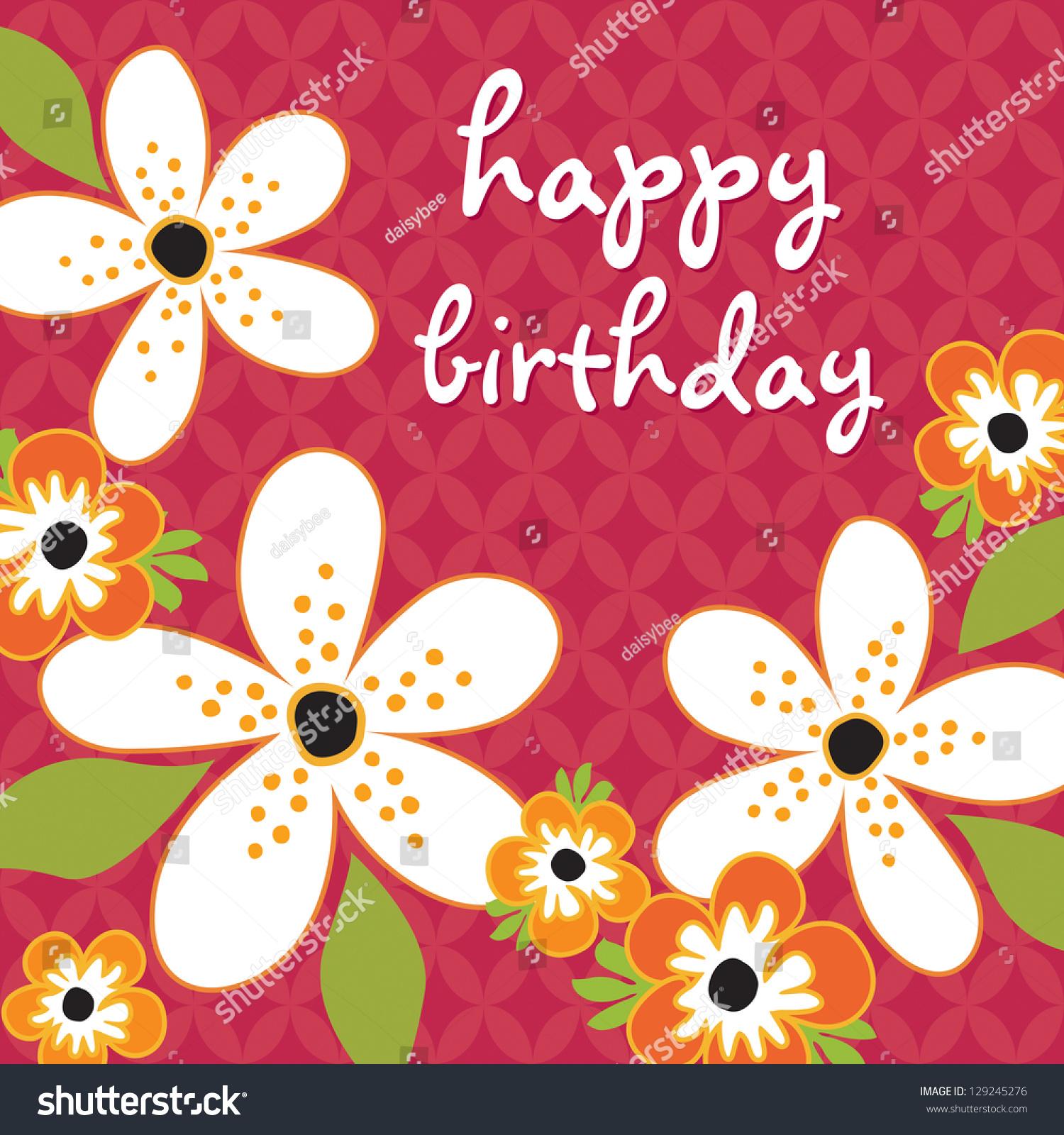 Raster Birthday Card Template White Orange Stock Illustration