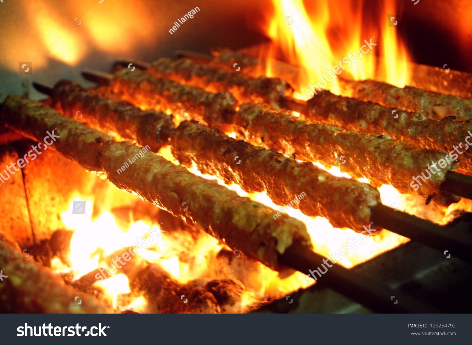 Tikka, Shish & Kofta Kebabs On Charcoal Barbeque Stock Photo 129254792 ...