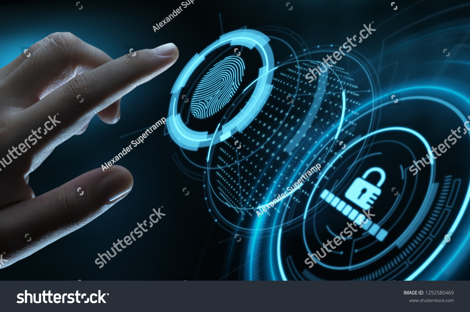 Fingerprint scan provides security access with biometrics identification. Business Technology Safety Internet Concept. #1292580469