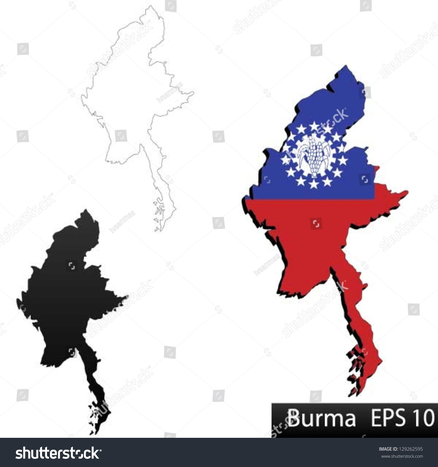 Maps Of Burma(Myanmar), 3 Dimensional With Flag Clipped Inside Borders,And Shadow, And ...