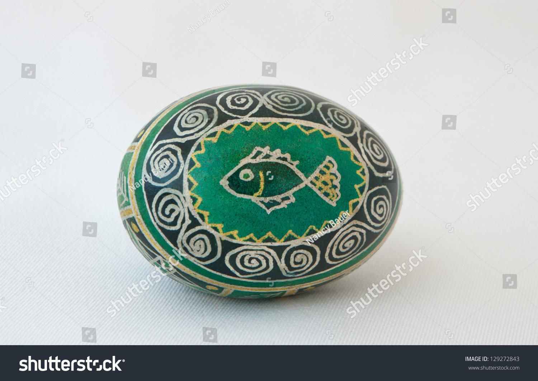 Handpainted Dyed Ukrainian Easter Egg Fish Stock Photo Edit Now