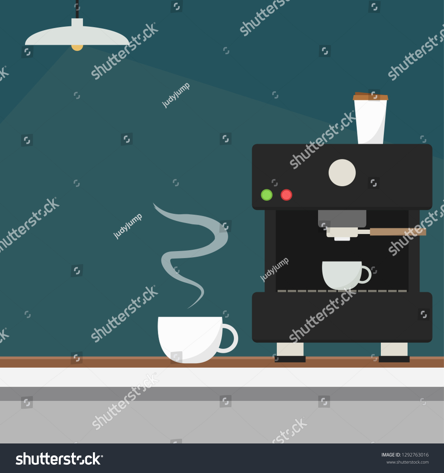 Coffee Maker Vector Coffee Cup Vector Stock Vector (Royalty