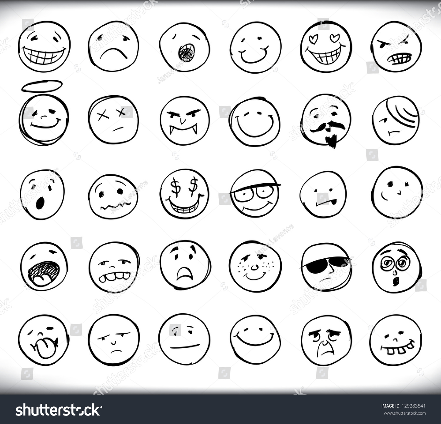 Set thirty hand drawn emoticons smileys stock vector 129283541 set of thirty hand drawn emoticons or smileys each with a different facial expression and emotion buycottarizona