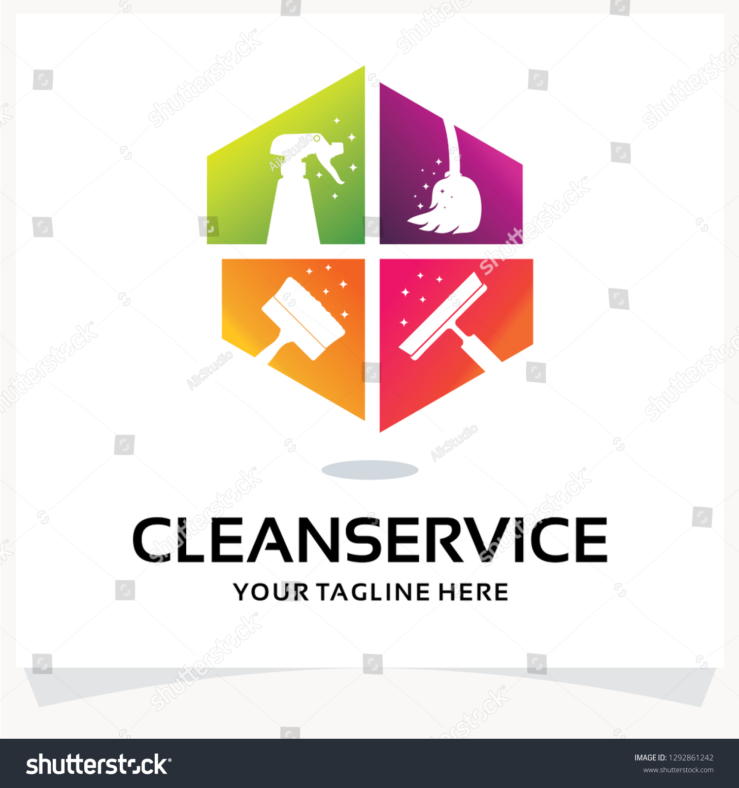 Cleaning Service Logo Design Template Inspiration Stock Vector