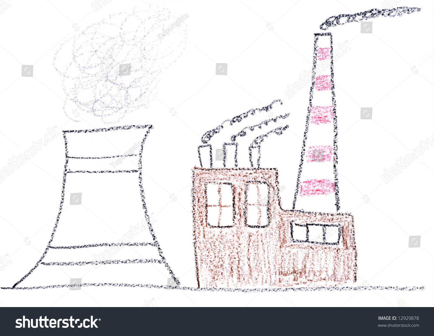 Stock Photo Child Drawing Of Nuclear Power Plant Made With Wax Crayons