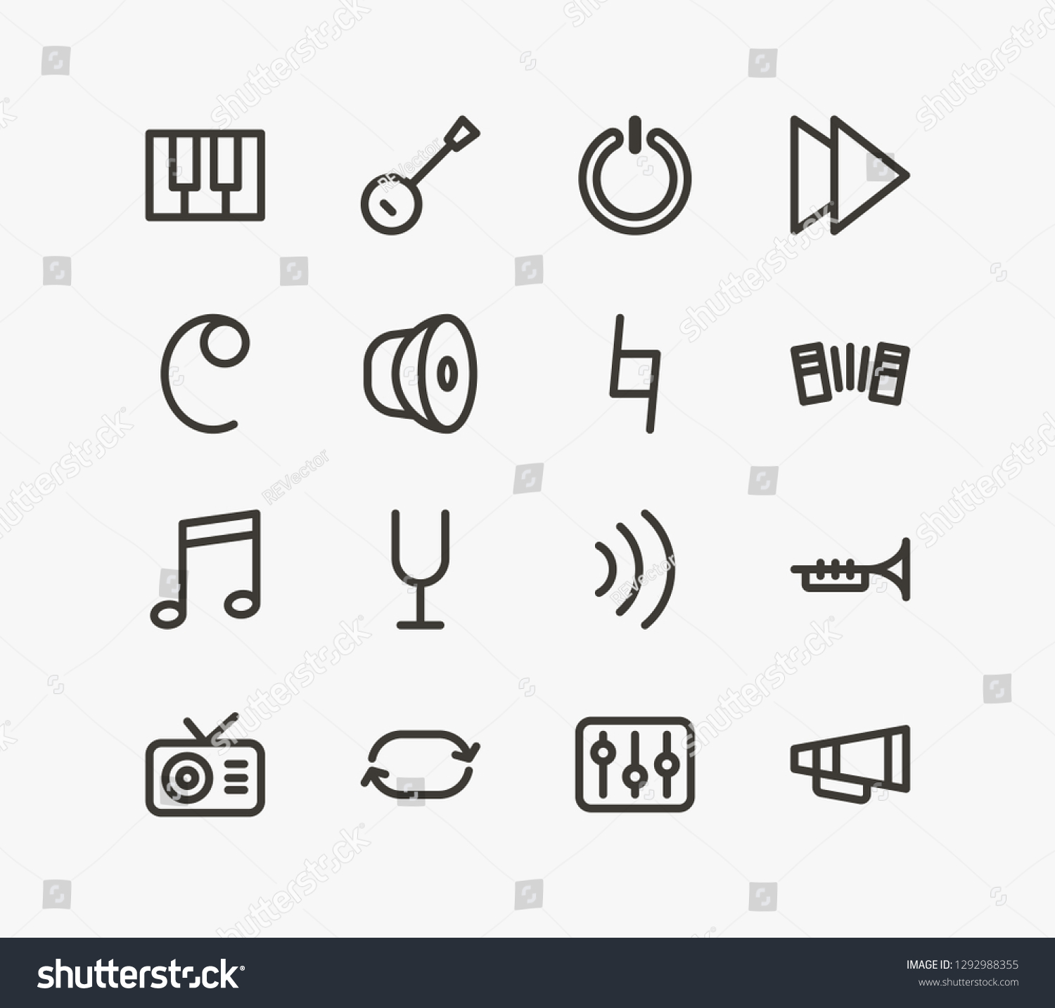 Melody Icon Set Volume Tuner Trombone Stock Vector (Royalty